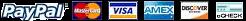 Modes de paiement: Paypal, Mastercard, VISA, American Express, Discover, eCheck
